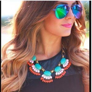 Turquoise fringe statement bohemian necklace sexy